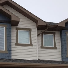 New Construction - Vinyl Siding - Hardie Shakes with Laced Corners - KWP Trims - Soffit - Fascia - Eavestrough