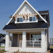 New Construction - Vinyl Siding - Hardie Shakes with Laced Corners - KWP Trims - Cedar Trellis w/ Cedar Brackets - Soffit - Fascia - Eavestrough